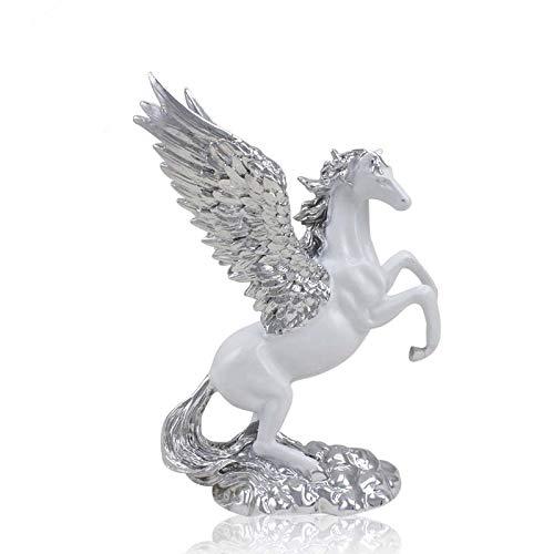 GYUGSD Harzbeschichtung kleine Pegasus-Ornamente Home-Office-Accessoires im europäischen Stil Geschenke Tierhandwerkweiß + Silber