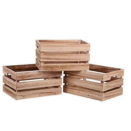 Nature by Kolibri Lot de 3 caisses en bois vintage - Boîte de rangement en bois - 39 x 29 x 21 cm