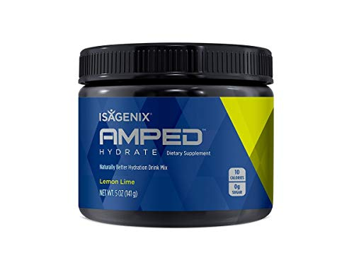 Isagenix Amped Hydrate Canister,141 Grams of Drink Mix - 45 Servings (Lemon Lime)