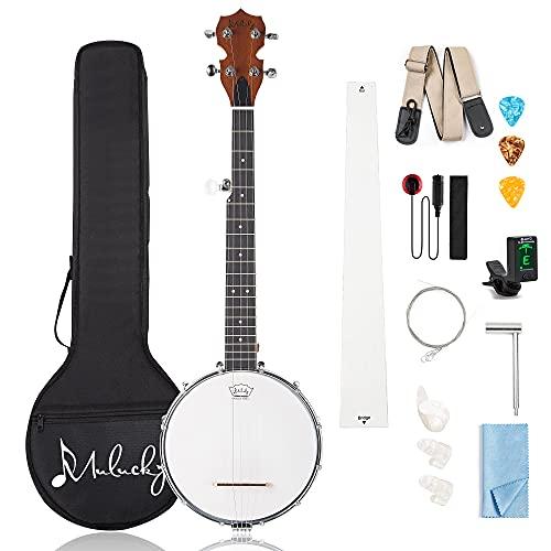 Mulucky 5 String Banjo Mini - 28 Inch Travel Banjo Sapele Body Closed Solid Back...