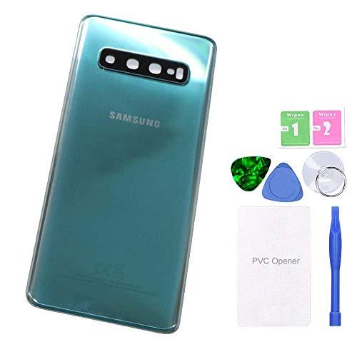 MovTEK Akkudeckel Backcover Rückseite Glas Original Ersatz für Samsung Galaxy S10 G973F Grün (Prism Green) Reparatur Set mit Kleber Kameraglas