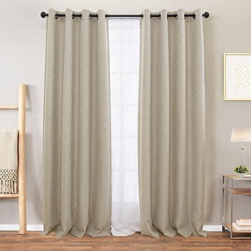 Vangao Room Darkening Curtains for Living Room Grommet Top Linen Textured Drapes for Bedroom 84 inches Long 2 Panels Greyish Beige