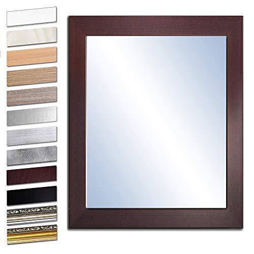Bilderdepot24 Wandspiegel Spiegel Badspiegel Holzrahmen komplett mit Echtglas - WENGE - ca. 50x40 cm