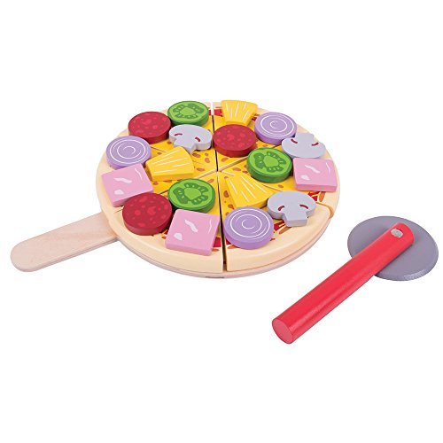 Bigjigs Toys Wooden Cutting Pizza with Wooden Toppings and Pizza Slicer - Play Food and Role Play for Kids