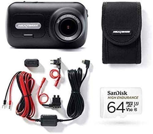 Nextbase 322GW Dash Cam, Hard Wiring Kit, Class 10 U3 64GB SD Card & Case included - Full 1080p/60fps HD In Car Camera- Wifi-Bluetooth-GPS- Intelligent Parking Mode- Emergency SOS response- G-Sensor