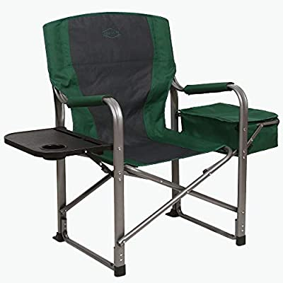 Kamp-Rite KAMPCC113 Director's Chair Outdoor Furniture Camping Folding Sports Chair with Side Table, Cup Holder, and 12 Can Ice Cooler, Green/Gray