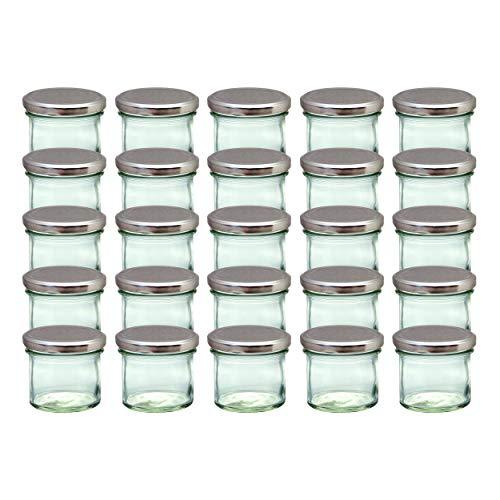 CapCro 25er Set Sturzgläser 125 ml Silberne Deckel to 66 Marmeladengläser Einmachgläser Einweckgläser