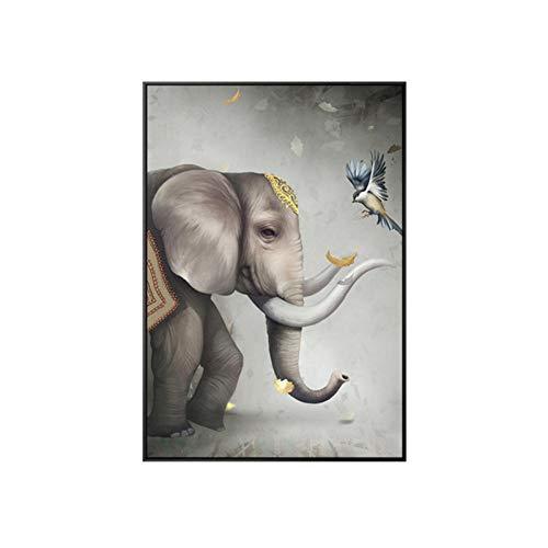 xwwnzdq vogel welke richting en olifant Fortunato canvaskunst muurkunst fotobehang wand woonkamer woonkamer studio huis decoratie 60x90 cm zonder lijst