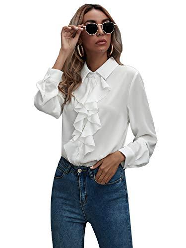 SheIn Women's Long Sleeve Button Down Lotus Ruffled Work Shirt Chiffon Blouse Tops White Medium