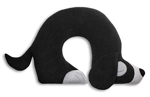 Leschi REISEKISSEN für erholsamen Schlaf in Auto, Flugzeug und Camping-Bett/Reisegeschenk für Kinder und Erwachsene/waschbares Nackenkissen/Hund Charlie, schwarz grau