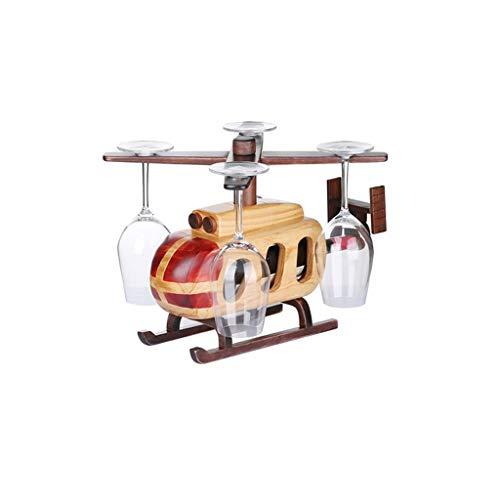 NXYJD Estilo helicóptero Creativo Madera sólido Vino Rack Adornos Vino Estante Colgante Vidrio Rack Botella de Vino Bastidor al revés de la Cabina