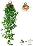 ANZOME Kunstpflanze Hängend Künstliche Pflanzen mit Holzkorb, Hängepflanze Künstlich Efeu Künstlich 107cm für Büro, Küche, Garten, Party Wanddekoration (Efeu)