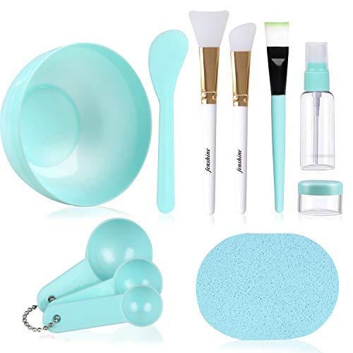 Juego de cuencos de mezcla de máscara facial, kit de herramientas de mezcla de máscara facial con máscara de plástico tazón de silicona cepillos de máscara de medición, espátulas de palo, esponja facial (10 unidades)