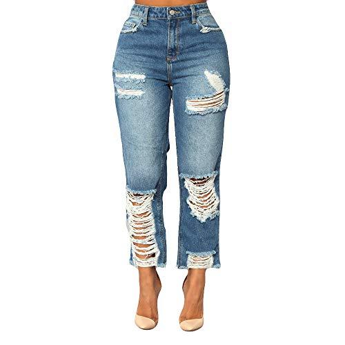 Damen Hoch Tailliert Dünn Hole Denim Jeans Stretch Slim Hose Wadenlange Jeans