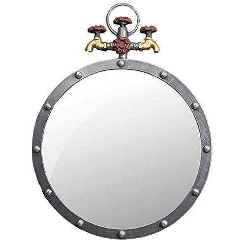 NYDZDM antieke metalen wandspiegel rond retro strijkijzer badkamer water industrieel ontwerp Hanging Specchi voor ingang, wastrooms, Salotti, W50 × D5 × H65 cm