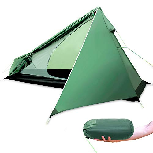 RongWang Ultralight Camping Tent One Person 3 Season Waterproof 950g Backpacking Tents No Trekking Poles for Outdoor Hike Tourist