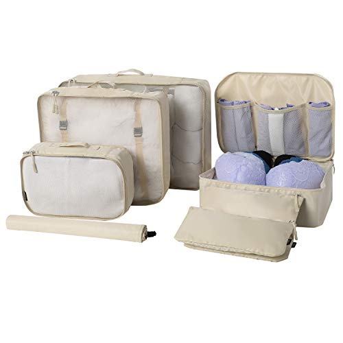 BAGAIL 7 Set / 8 Set Packing Cubes Luggage Packing Organizers for Travel Accessories(7 Set Beige)