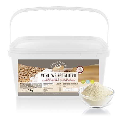 Vital Weizengluten 5 kg natürliches Verdickungsmittel rein pflanzlich | Weizeneiweiß | Seitan | kalorienarme Speisestärke | Backen und Kochen | Golden Peanut