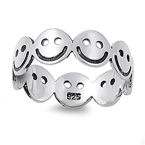 Smiley Face Eternity Happy Unique Ring New .925 Sterling Silver Band Size 6