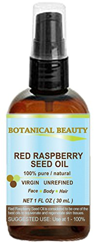 RED RASPBERRY SEED OIL 100% Pure/Natural/Virgin. Cold Pressed/Undiluted Carrier Oil. For Face, Hair and Body. 1 Fl.oz.- 30 ml. by Botanical Beauty