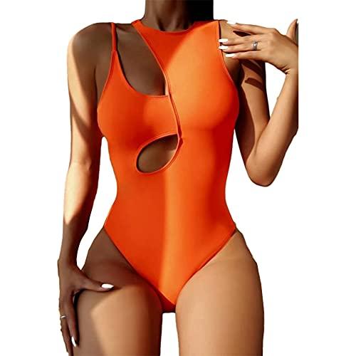 NEE Mujer One Piece Traje De Baño Ahuecar Color Sólido Bodysuit Traje De Baño Sexy Alta Flexibilidad Playa De Arena Traje De Baño,Naranja,L