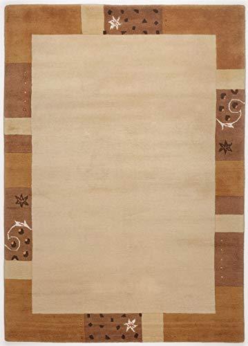 Theko Teppich Nepal handgeknüpft, Honig Farbe, Indien, hochwertig, weich,Bordürendesign, Rechteckig, Rund, Läufer, Bettumrandung (60 x 90 cm)
