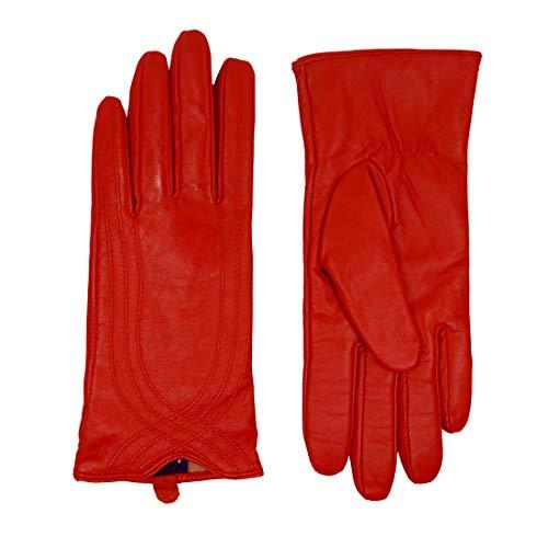 Nappaglo Damen Lederhandschuhe Winter Touchscreen Lammfell Elegant Echtleder Warm Handschuhe Outdoor, rot, L