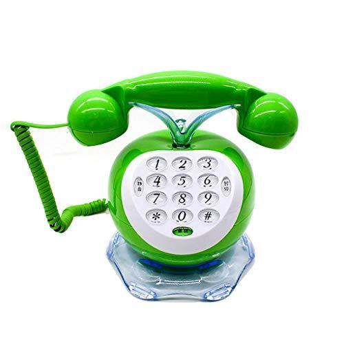 GUOJINE Classic Teléfonos con Cable Creative Cute Vintage Teléfonos Antiguos Teléfono Cable Rizado y Timbre Tradicional Tono de Dibujos Animados Inicio Fijo Trae luz eléctrica - Verde