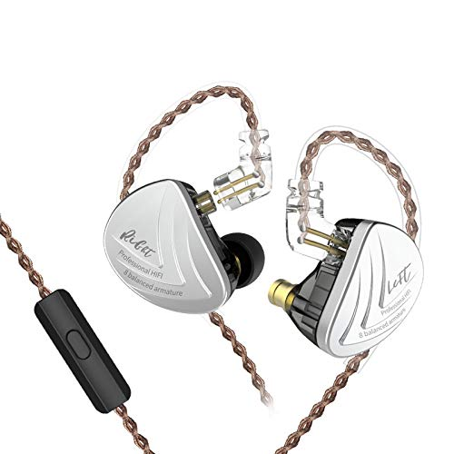 KZ AS16 16 Units Earbuds Balanced Armature Headphones Noise Reduction Extra Bass Sports in Ear Earphone (with Mic, Black)