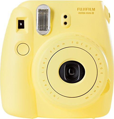 Fujifilm Instax Mini 8 - Cámara analógica instantánea (flash, velocidad de obturación fija de 1/60 s), color amarillo