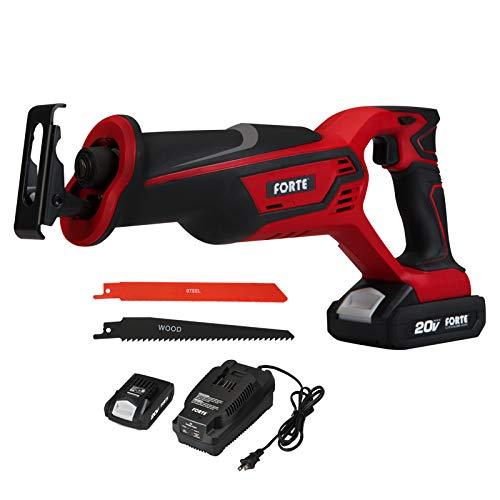 FORTE 20V Max Reciprocating Saw with Li-ion Battery and Quick Charger, Variable-Speed & Tool-Free Blade Change, 2 Saw Blades for Wood & Metal Cutting