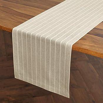Solino Home Zoe Table Runner – 14 x 60 Inch Celista Natural – Linen Cotton Natural Fabric Machine Washable