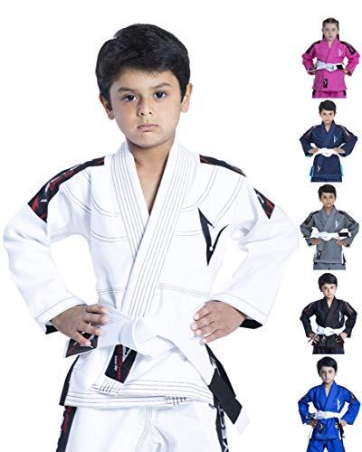 Vector Kids Brazilian Jiu jitsu BJJ Gi cinturón blanco sin con 100% algodón Kimono de tejido de Pearl Ultra ligero tejido preencogido, blanco