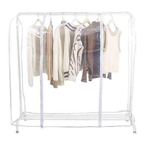 EXLECO Kleiderständer Abdeckung 183 * 165 * 60 cm Transparent Plastik Anti-Staub Abdeckung Staubschutz 2 Reissverschlüsse Kleiderschutzhüllen Schutzhülle Staubdicht