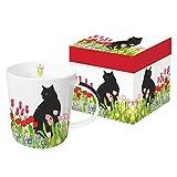 Paperproducts design 28211confezione regalo tazza con gatto nero tulipani di design, multicolore