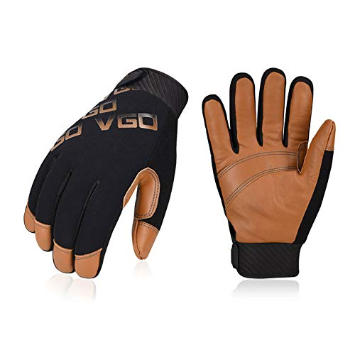 Vgo 1-Pair -4℉ or above 3M Thinsulate C100 Winter Warm Waterproof Light Duty Mechanic Glove, High Dexterity, Anti-abrasion, Rigger Glove (Size S, Brown, GA9603)