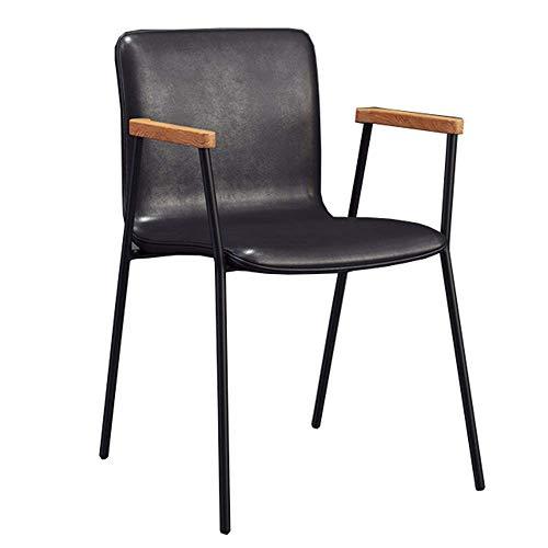 JIEER-C leerstoel eetkamerstoelen rugleuning koffie thuis stoel PU kussen designer lounge stoel massief houten leuning tuinstoel metalen frame opslaggewicht 120 kg (kleur: zwart) zwart