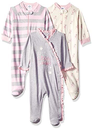 GERBER Baby Girls' 3-Pack Organic Sleep 'N Play, Bunny Star, 0-3 Months