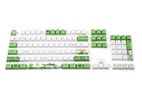LTC LavaCaps PBT 108 Keycaps Set, dicke PBT Keycaps für mechanische Tastatur (Chinesischer Stil grünes Rentier) – nur Keycaps