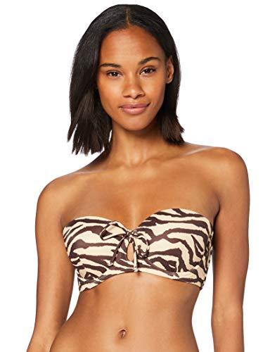 Marca Amazon - Iris & Lilly Parte de Arriba de Bikini Bandeau Mujer, Multicolor (Leopard), XXL, Label: XXL