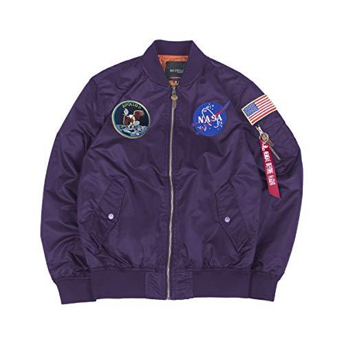 CORIRESHA Mens Apollo NASA Patches Slim Fit Bomber Jackets Windbreaker Purple