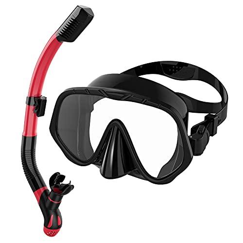 Ranipobo Máscara y Snorkel,Set de Esnórquel Gafas de 180° Buceo Panorámicas Antivaho de Vidrio Templado, Juego de Buceo para Adultos Snorkel seco Unisex