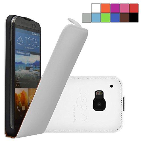 COOVY® Cover für HTC ONE M9 Slim Flip Hülle Tasche Etui inklusive gratis Bildschirmschutzfolie | Farbe Weiss