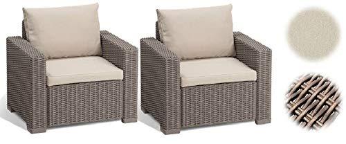 ALLIBERT Lounge Fauteuil California, Lot de 2, Cappuccino/Panama Sable, 83 x 68 x 72 cm, 233049