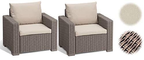 Allibert California Set 2 Poltrone in Rattan, Set di 2 Divanetti con Cuscino Incluso Color Cappuccino