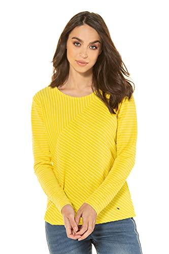 GINA LAURA Damen Sweatshirt, Rippstruktur, diagonale Ziernaht limonengelb XXL 747948 60-XXL