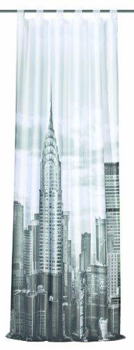 Home Fashion 48539-896 - Tenda in Voile con Passanti e Stampa Digitale New York, 245 x 120 cm, Colore: Nero/Bianco