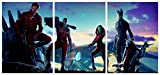 Hunbeauty Art - Póster de Guardianes de la Galaxia, sin marco, 3 paneles de Marvel Los Vengadores, decoración de paredes (sin marco)