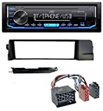 caraudio24 JVC KD-X351BT AUX USB Bluetooth MP3 Autoradio für BMW 3er E46 Profiversion Rundpin