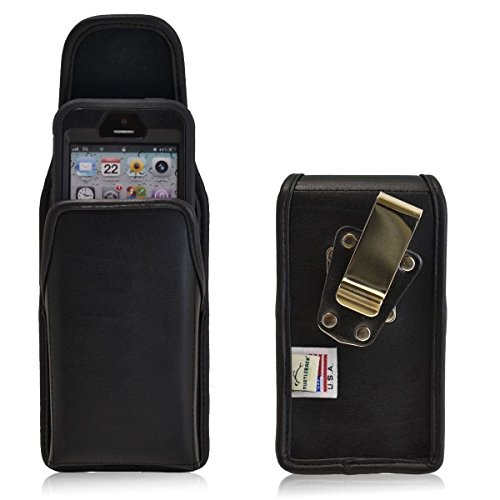 Vertical Rugged Genuine Leather Case with Heavy Duty Metal Rotating Clip and Magnetic Closure fits LG K7